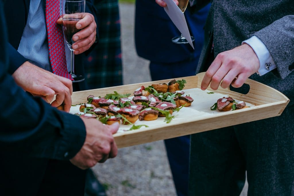 canapes at castle wedding