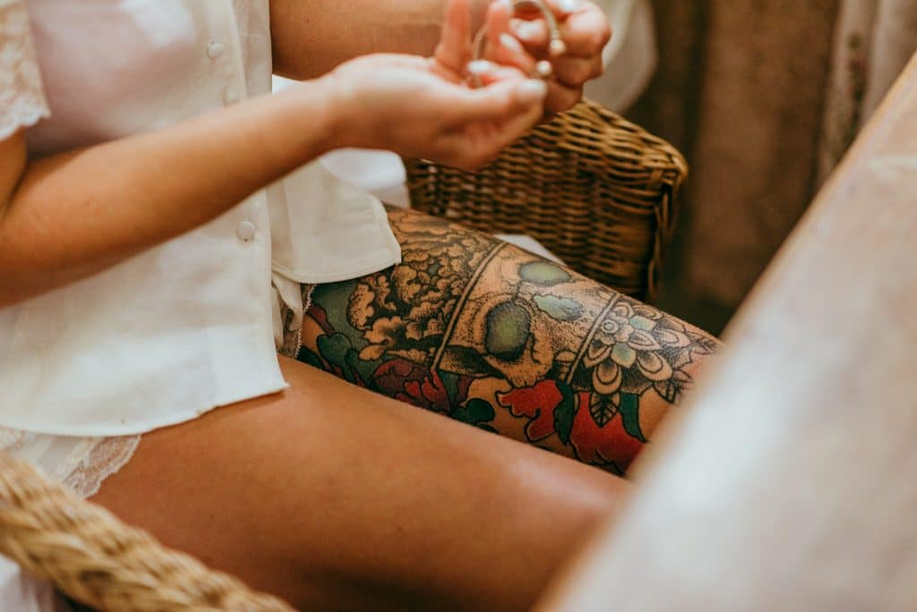 tattooed bride in Shropshire by cloud9 wedding photography